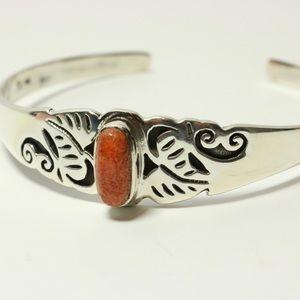 Jewelry - Coral Open Cuff Sterling Silver Bracelet